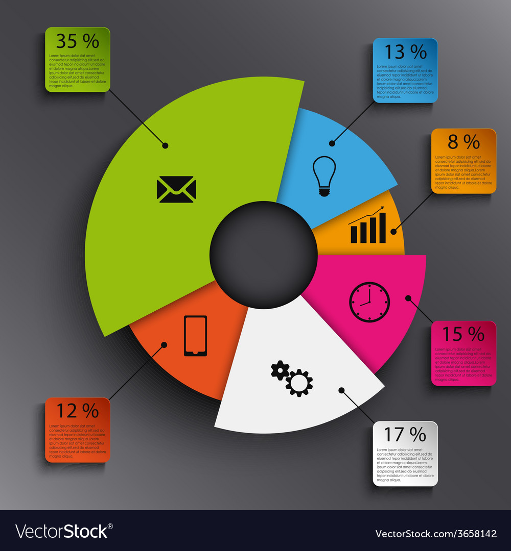Info graphic with abstract round graph template vector   Price: 1 Credit (USD $1)