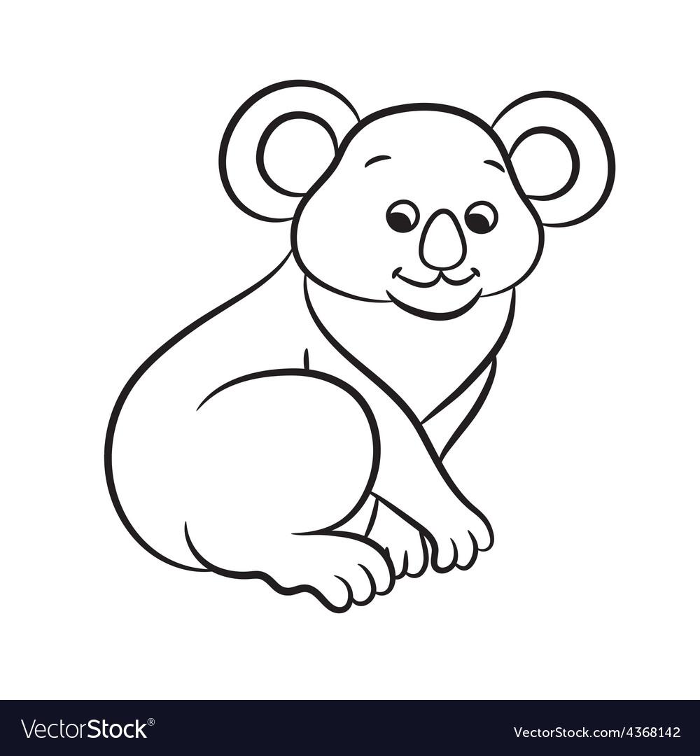Koala black and white vector | Price: 1 Credit (USD $1)