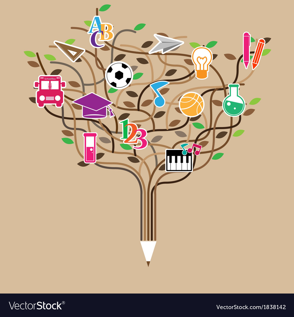 Pencil tree shaped made with school icons set vector   Price: 1 Credit (USD $1)