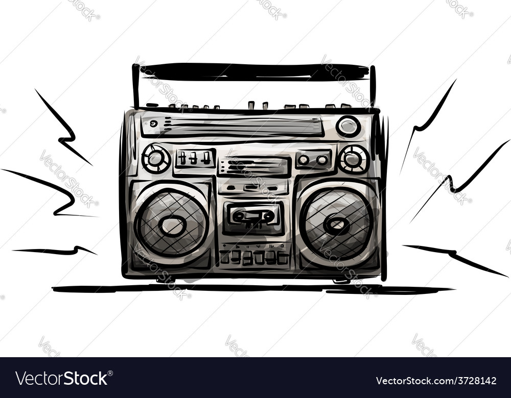 Retro cassette recorder sketch for your design vector | Price: 1 Credit (USD $1)