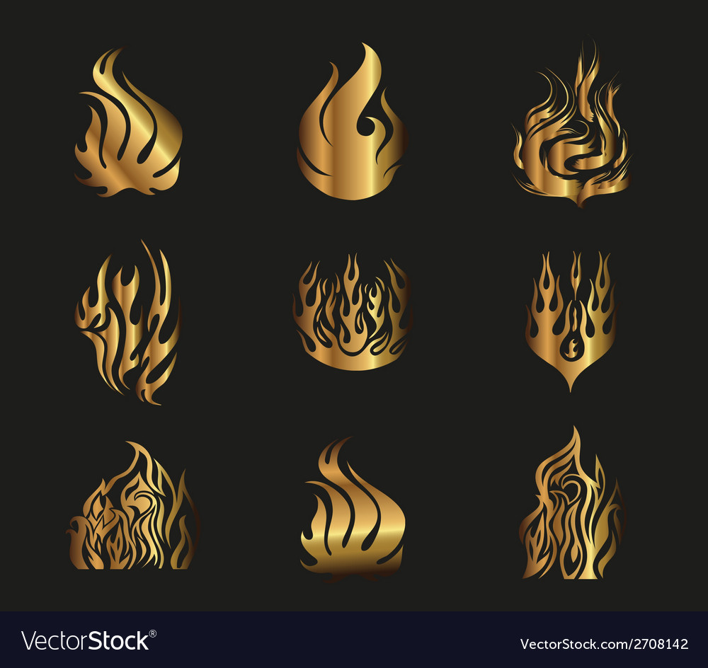 Symbols gold yellow fire on black background vector | Price: 1 Credit (USD $1)