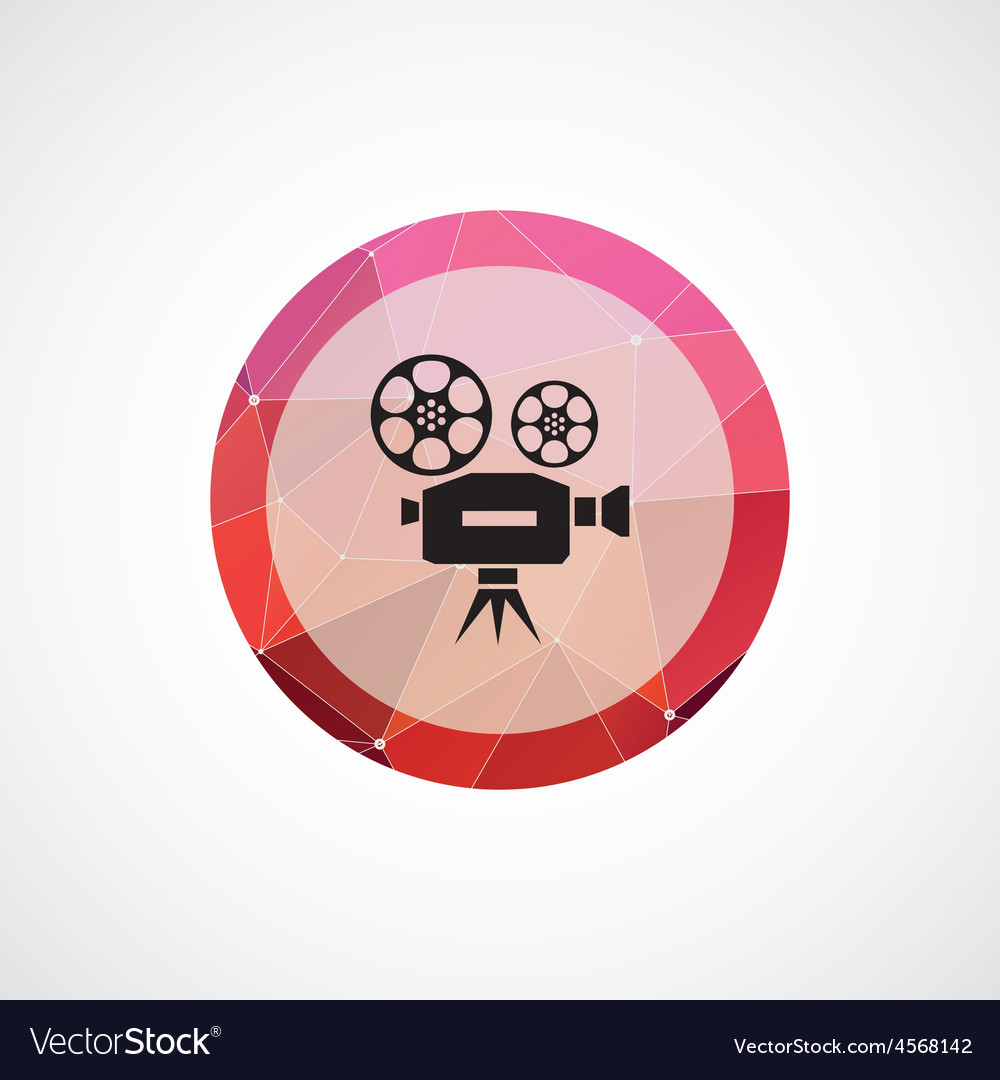 Video circle pink triangle background icon vector | Price: 1 Credit (USD $1)