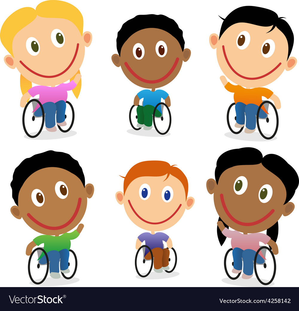Wheelchair children character pack vector | Price: 1 Credit (USD $1)