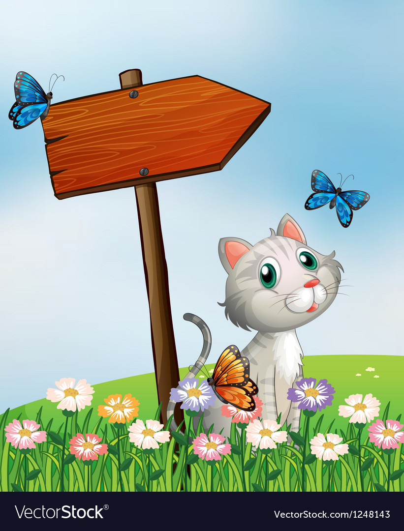 A cat with three butterflies beside the wooden vector | Price: 1 Credit (USD $1)