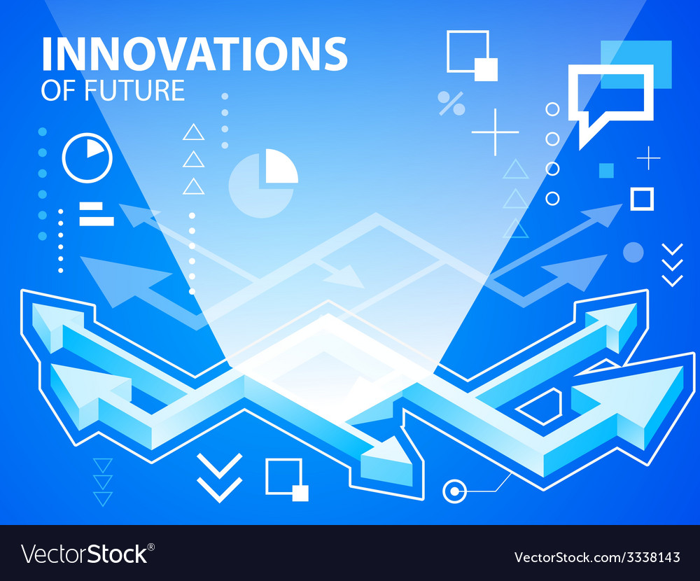 Bright arrows on blue background for banner vector | Price: 3 Credit (USD $3)