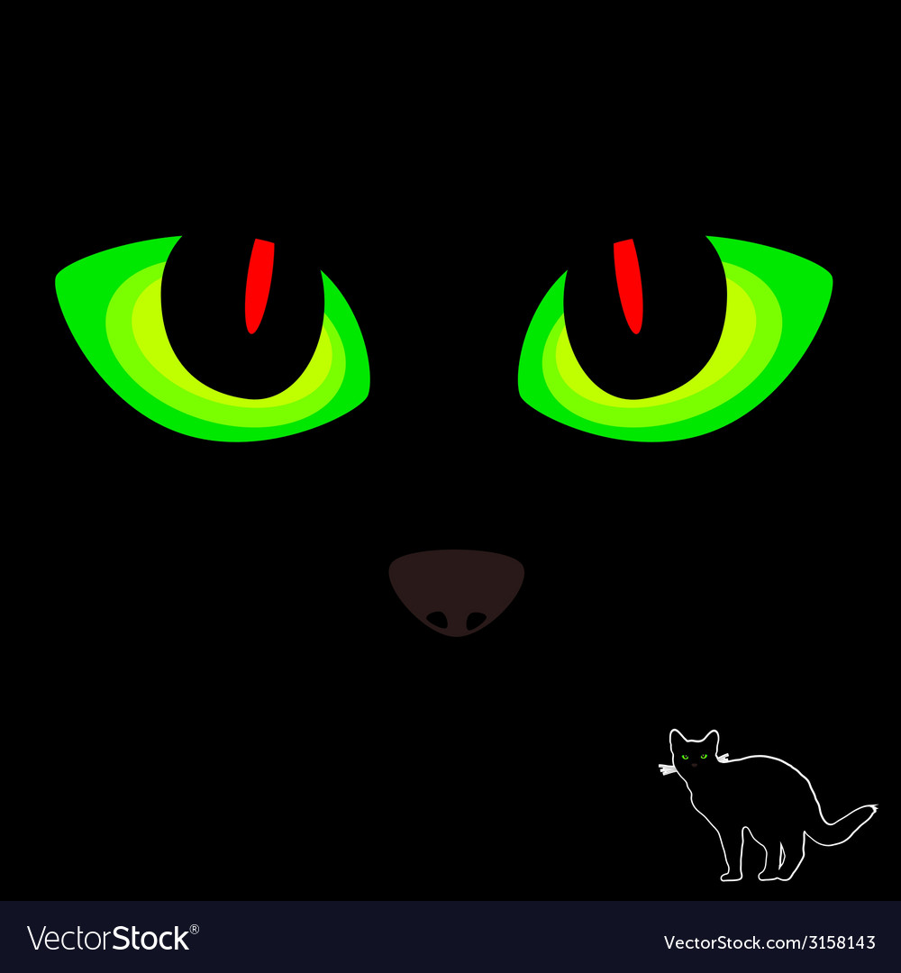Cat eye in red and green color on black vector | Price: 1 Credit (USD $1)