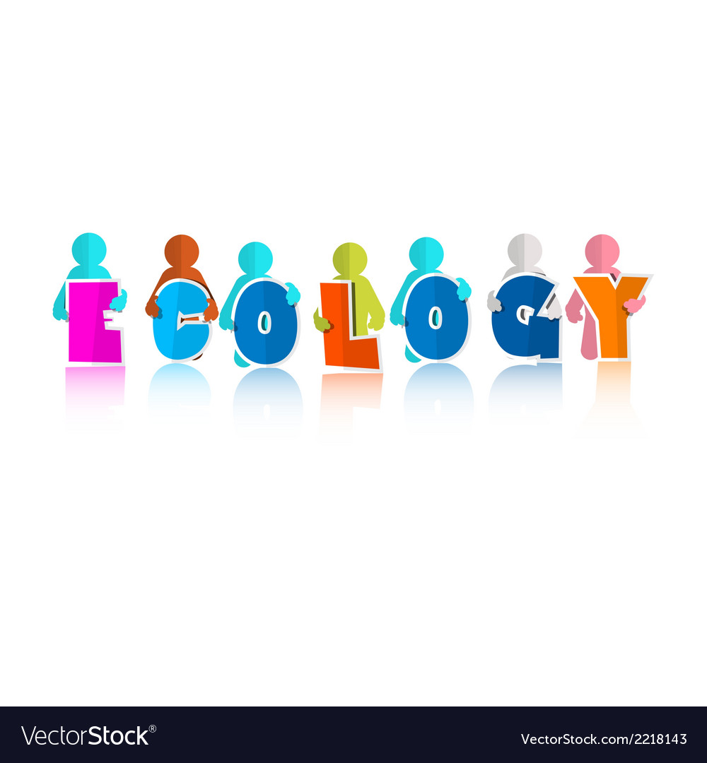 Ecology colorful title with paper people vector | Price: 1 Credit (USD $1)