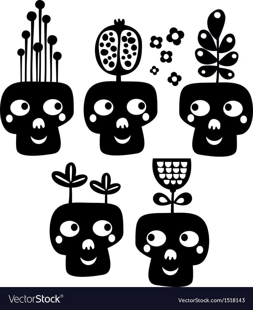 Funny skulls with flowers vector | Price: 1 Credit (USD $1)