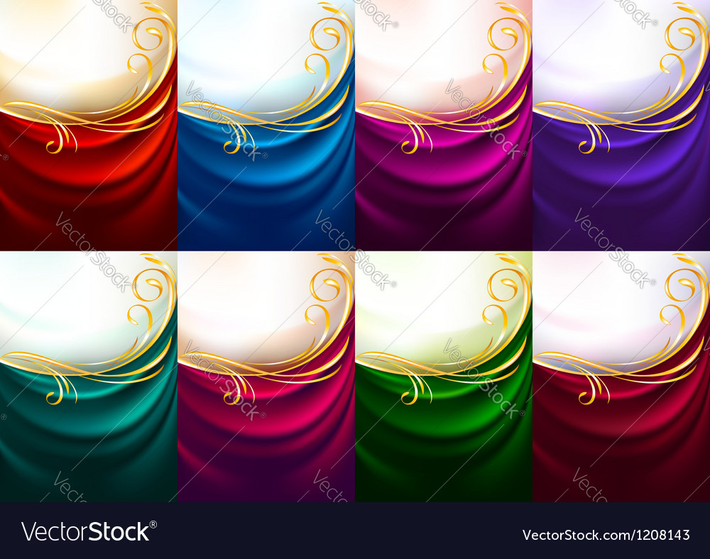 Holiday backdrops - set colored fabrics vector   Price: 1 Credit (USD $1)