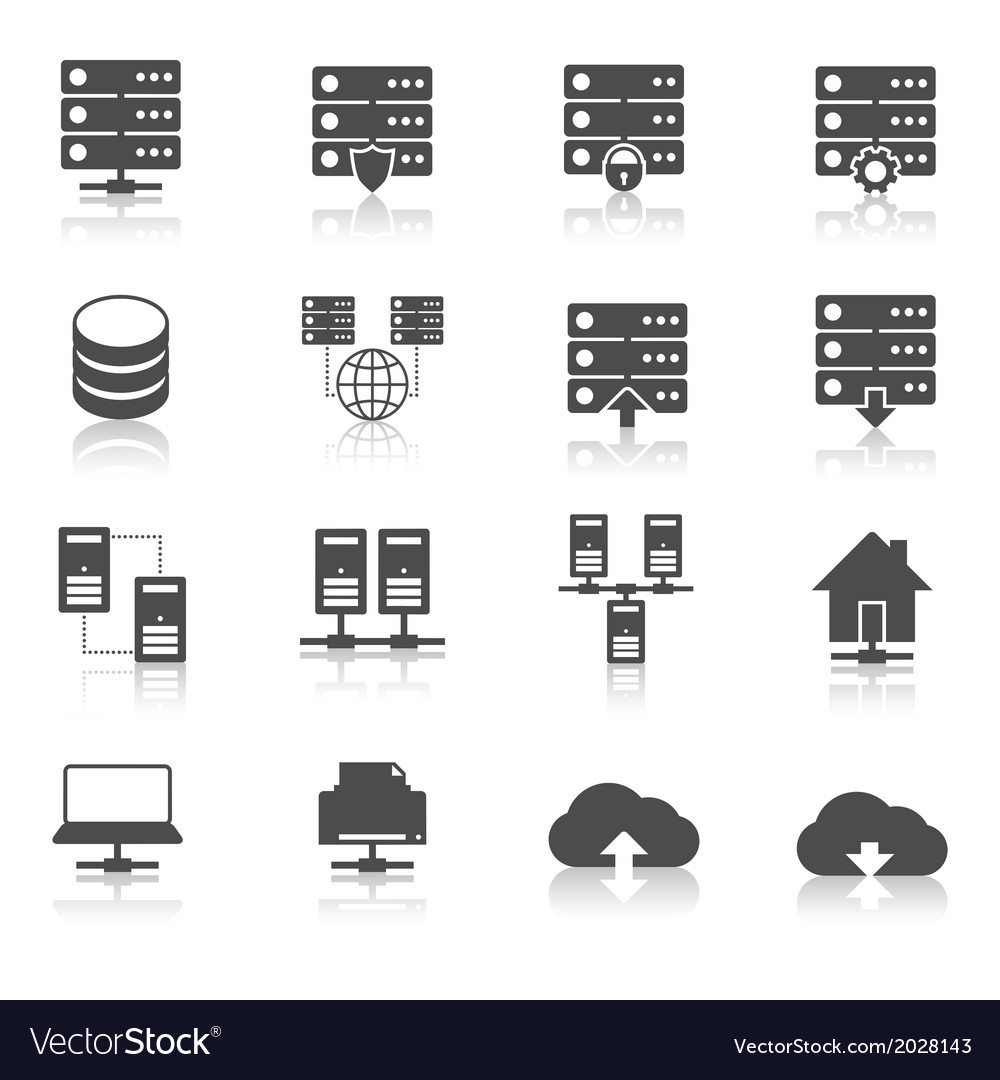 Hosting technology pictograms set vector | Price: 1 Credit (USD $1)