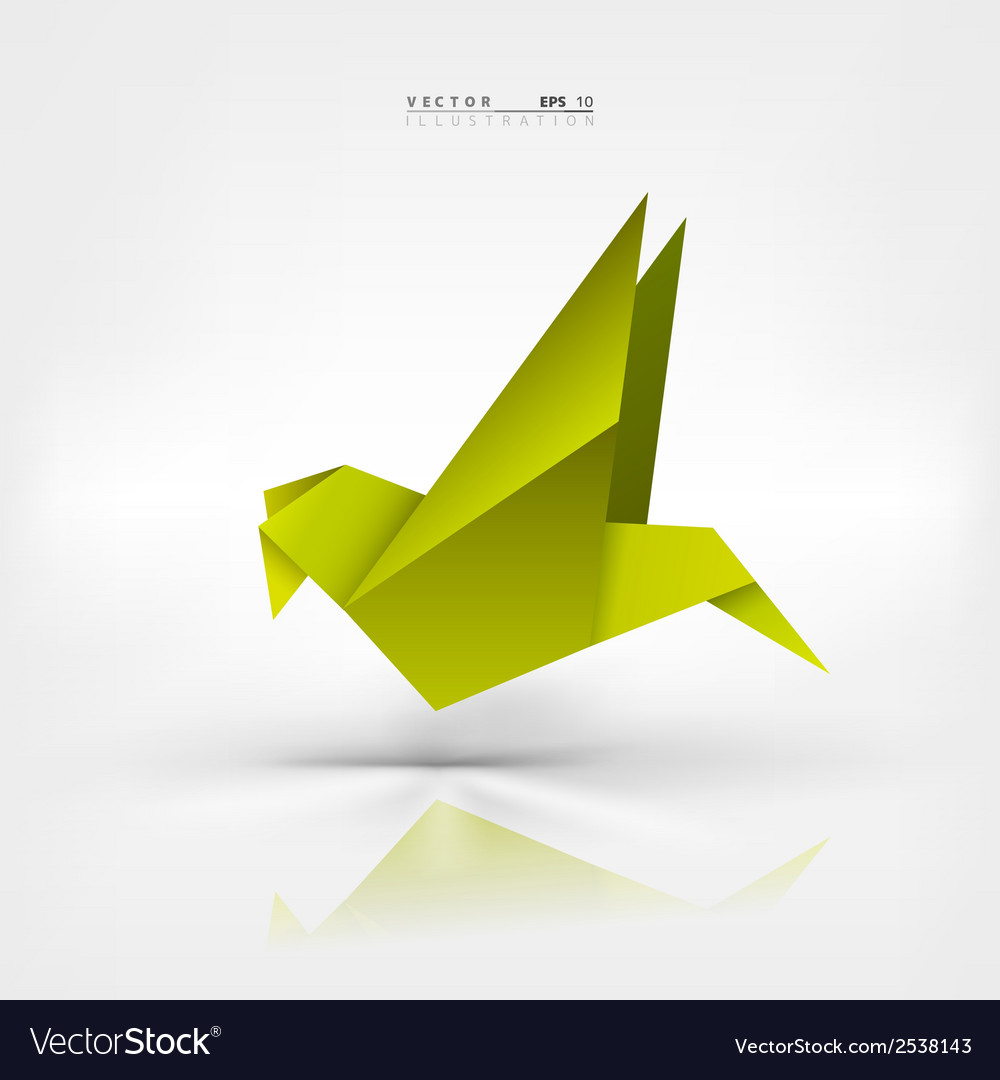 Origami paper bird on abstract background vector | Price: 1 Credit (USD $1)