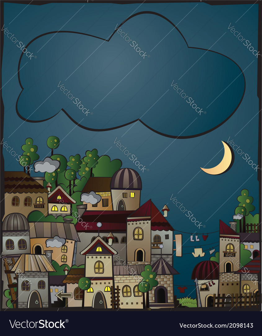 Postcard with cartoon construction night town vector | Price: 1 Credit (USD $1)
