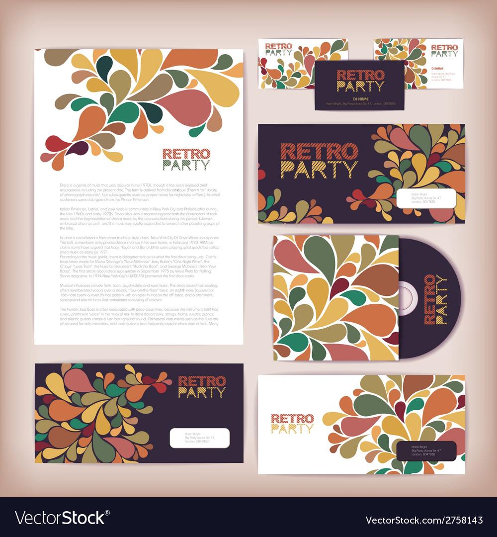 Retro disco concept design corporate identity vector | Price: 1 Credit (USD $1)