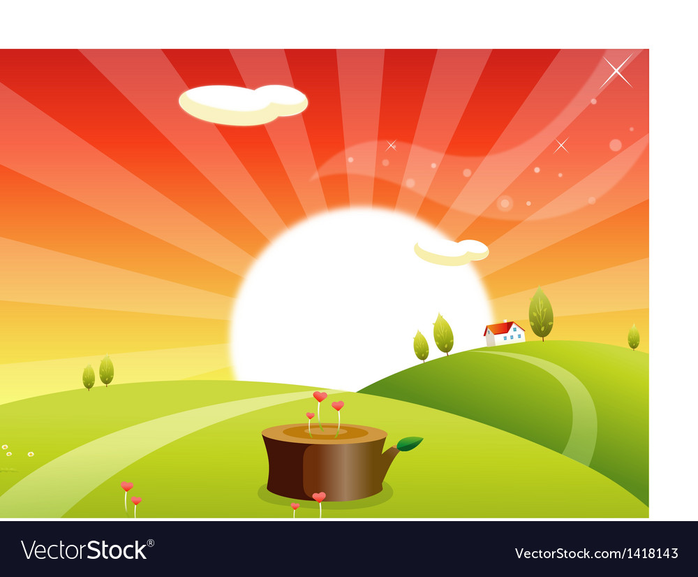 Sunrise rolling landscape vector | Price: 1 Credit (USD $1)