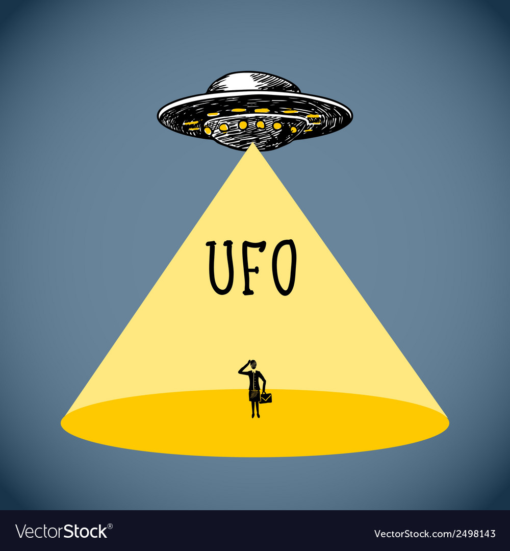 Ufo poster sketch vector | Price: 1 Credit (USD $1)