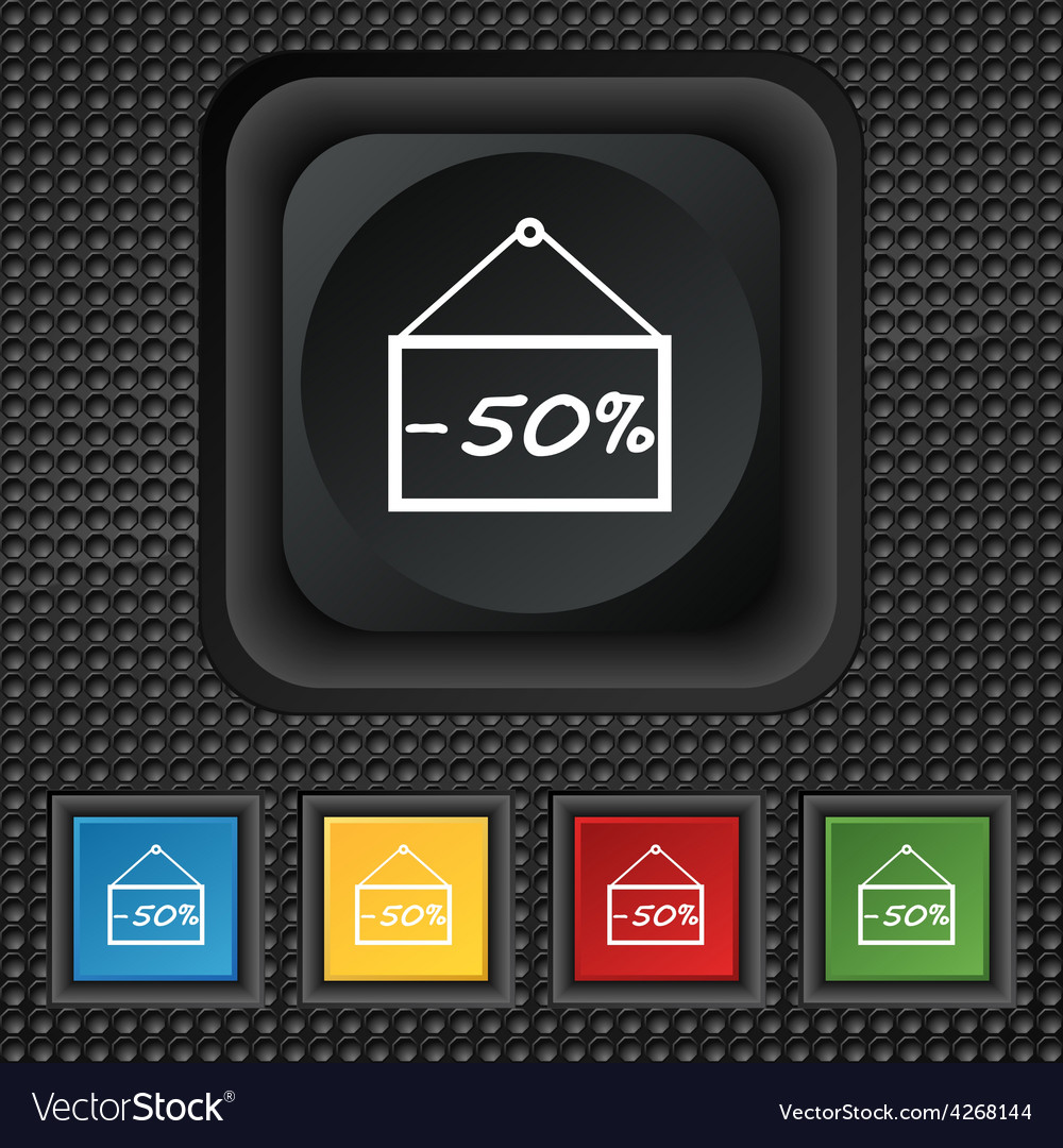 50 discount icon sign symbol squared colourful vector | Price: 1 Credit (USD $1)