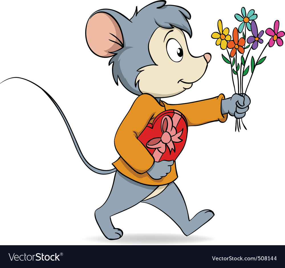 Cartoon cute mouse with heart gift box and flowers vector | Price: 3 Credit (USD $3)