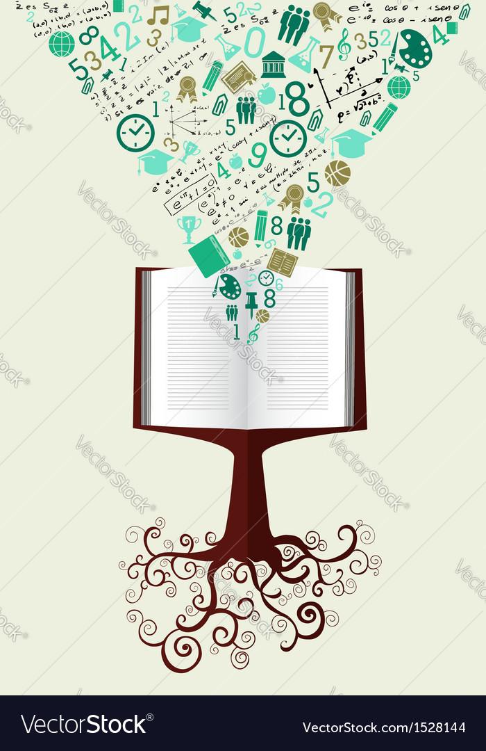 Education back to school green icons book tree vector | Price: 1 Credit (USD $1)