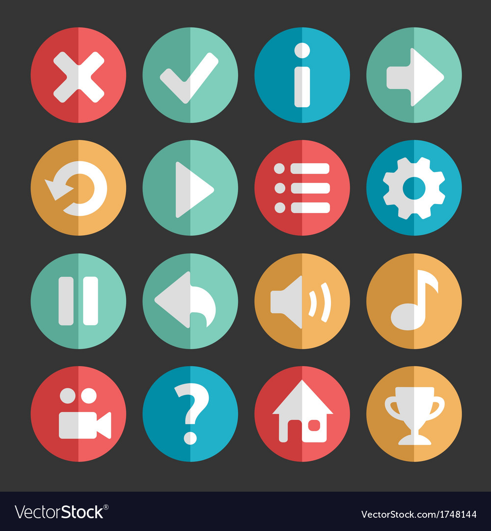 Flat and round game icon vector | Price: 1 Credit (USD $1)
