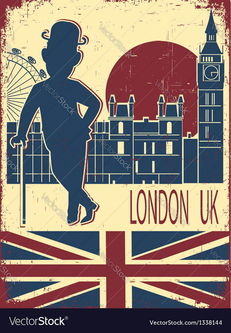 Gentleman with london background vector | Price: 3 Credit (USD $3)