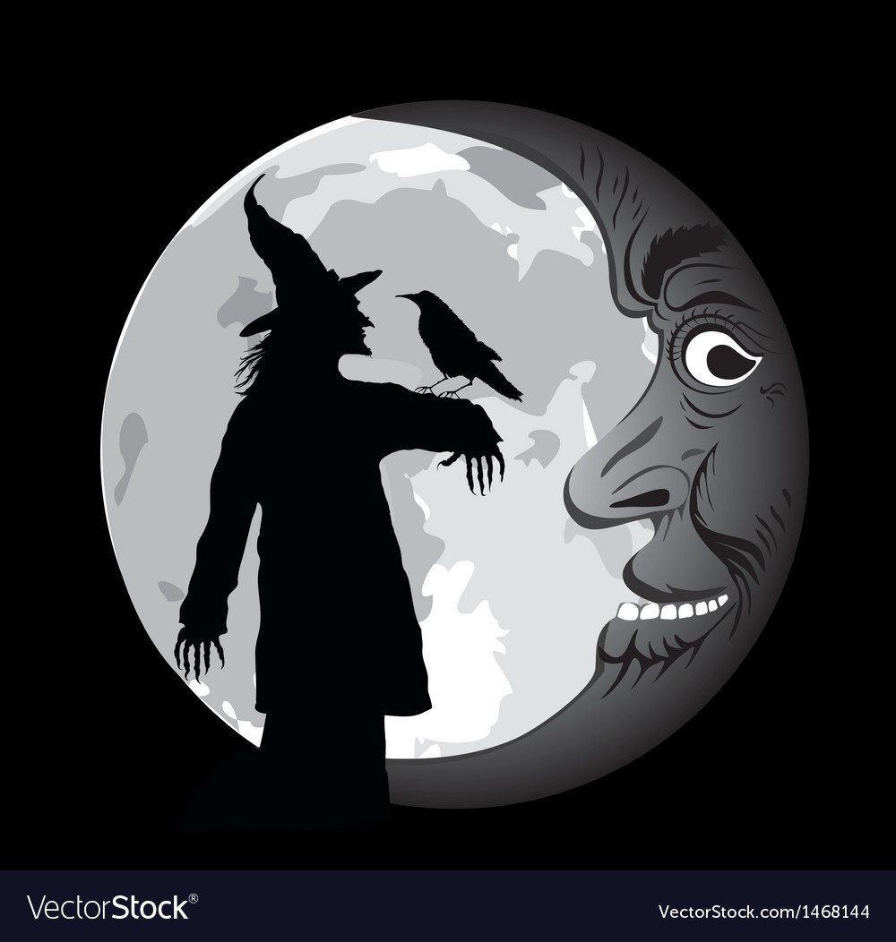 Halloween poster with moon vector | Price: 1 Credit (USD $1)