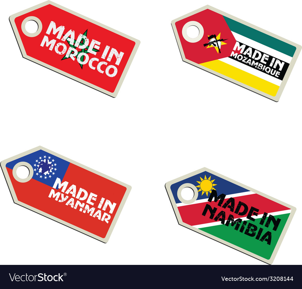 Label made in morocco mozambique myanmar namibia vector | Price: 1 Credit (USD $1)
