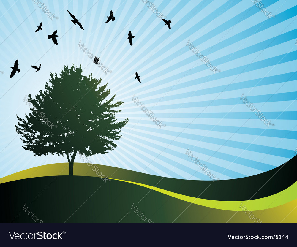 Landscape with tree vector | Price: 1 Credit (USD $1)