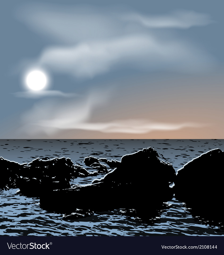 Nature background sea stones during dusk vector | Price: 1 Credit (USD $1)