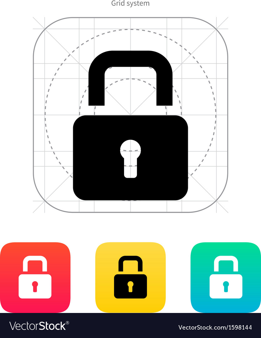 Padlock close icon vector | Price: 1 Credit (USD $1)