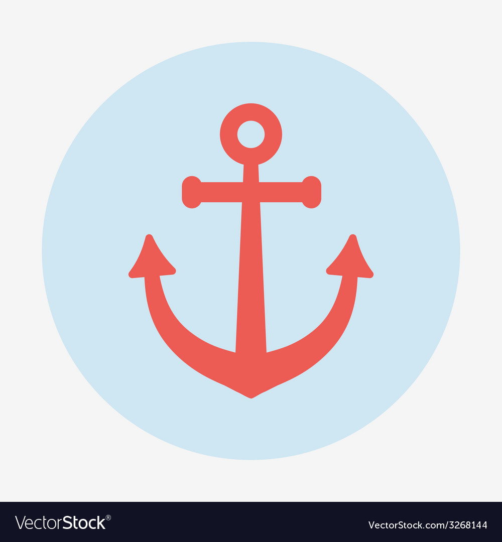 Pirate or sea icon anchor flat design style modern vector | Price: 1 Credit (USD $1)