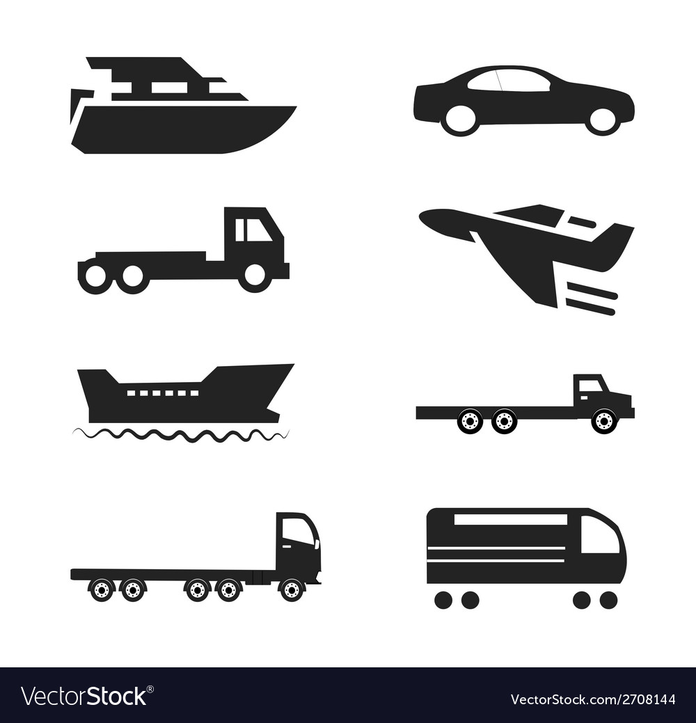 Transport icons cars ships trains planes se vector | Price: 1 Credit (USD $1)