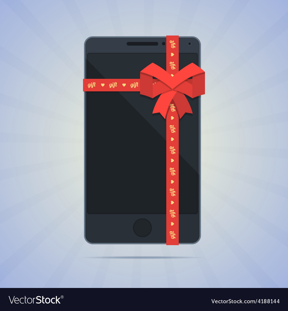 Wrapped smartphone with red ribbon and text gift vector | Price: 1 Credit (USD $1)