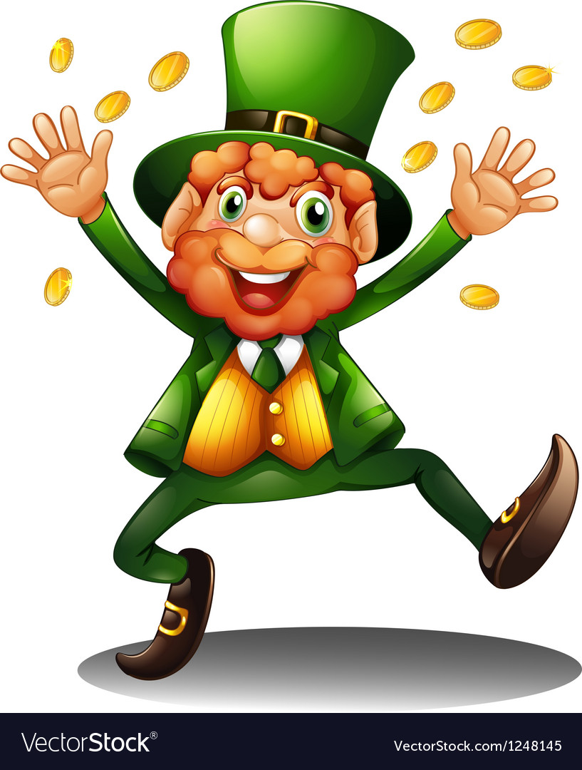 An old man throwing coins for st patricks day vector | Price: 1 Credit (USD $1)