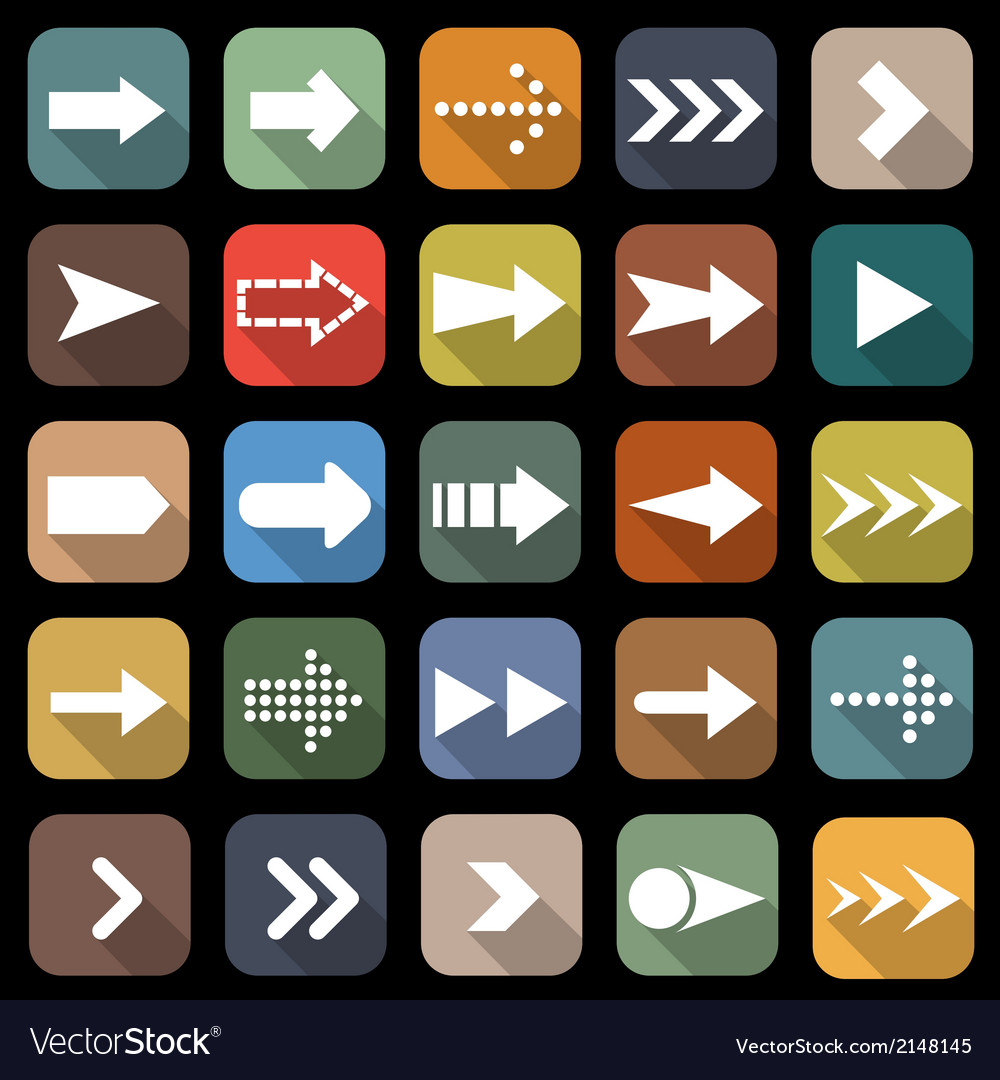 Arrow flat icons with long shadow vector | Price: 1 Credit (USD $1)