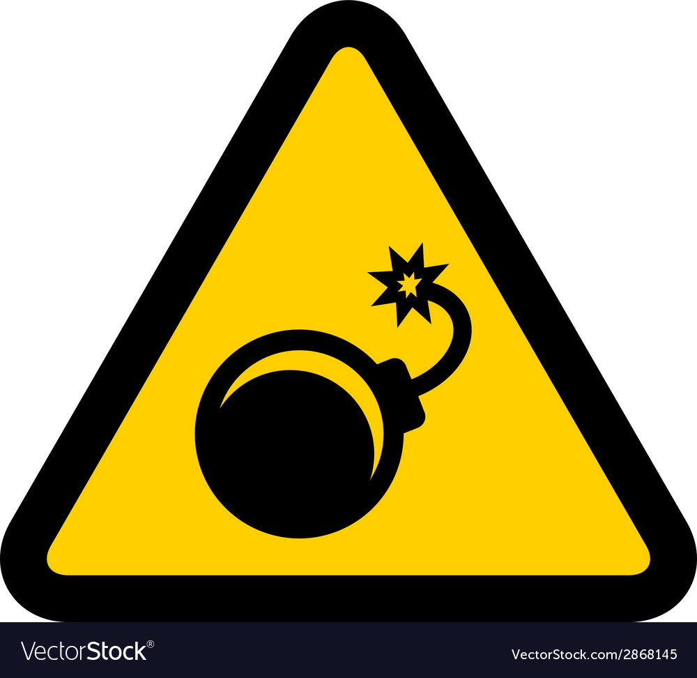 Bomb warning sign vector | Price: 1 Credit (USD $1)