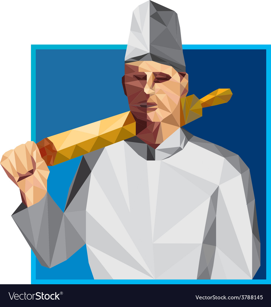 Chef cook rolling pin low polygon vector | Price: 1 Credit (USD $1)