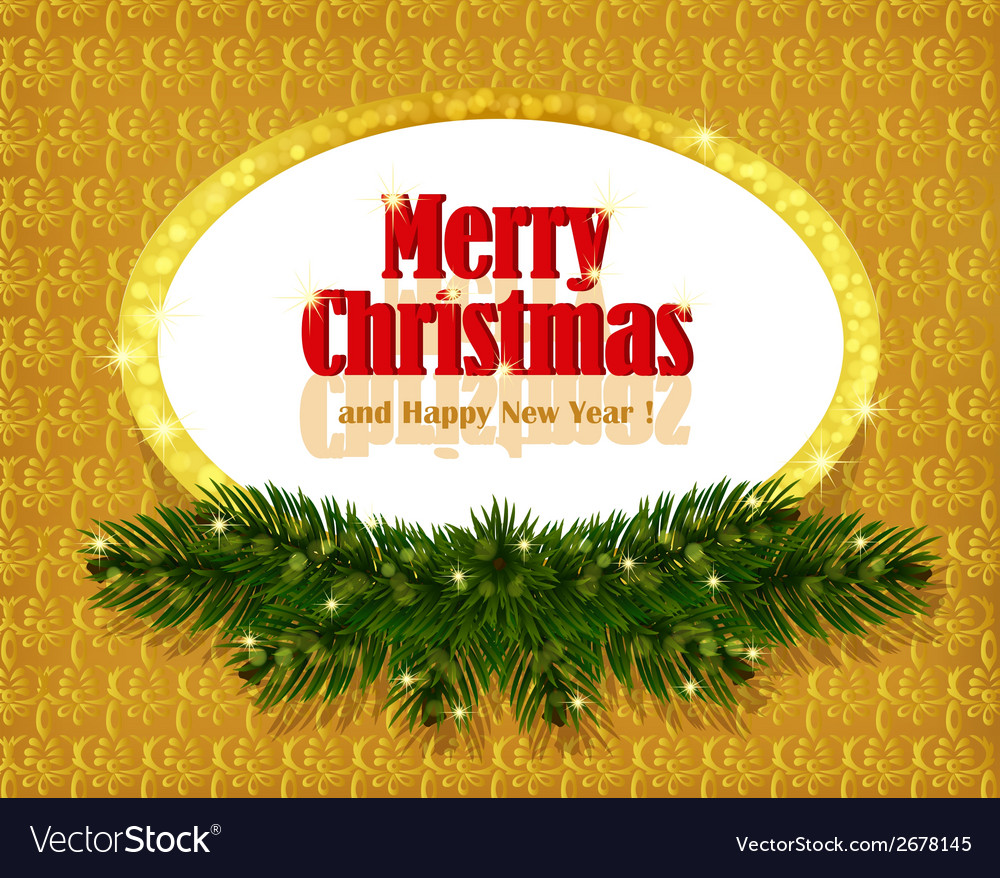 Christmas gold background with sparkling frame vector | Price: 1 Credit (USD $1)