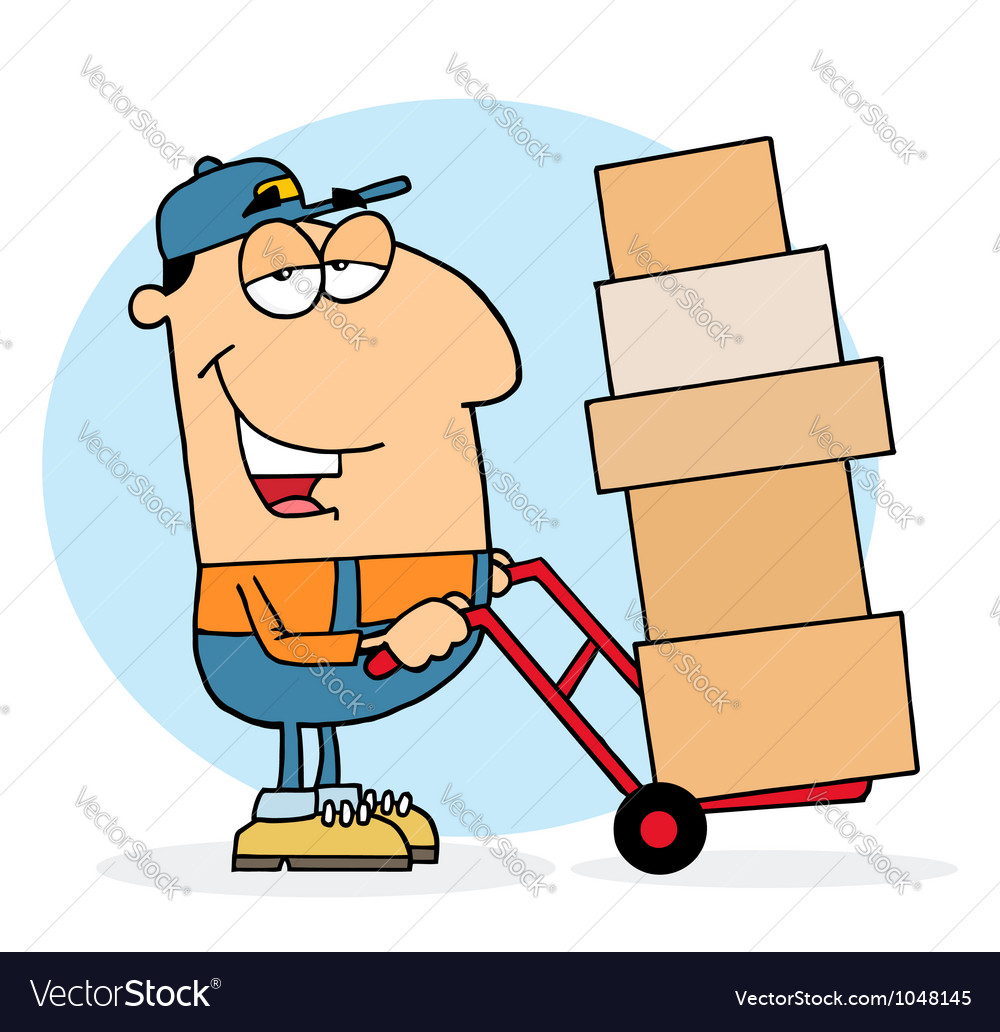 Delivery guy using a dolly to move boxes vector | Price: 1 Credit (USD $1)