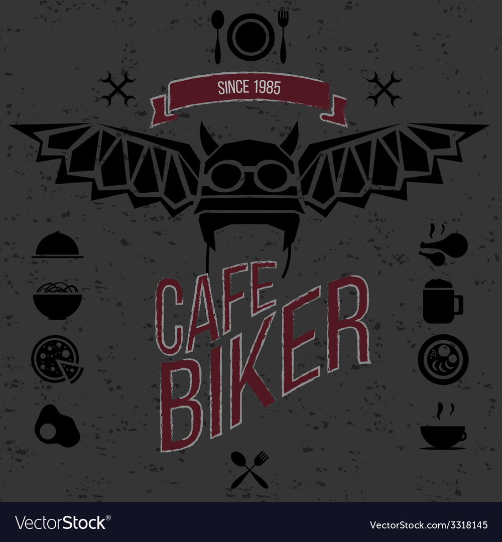 Design elements for the cafe bar for bikers vector   Price: 1 Credit (USD $1)