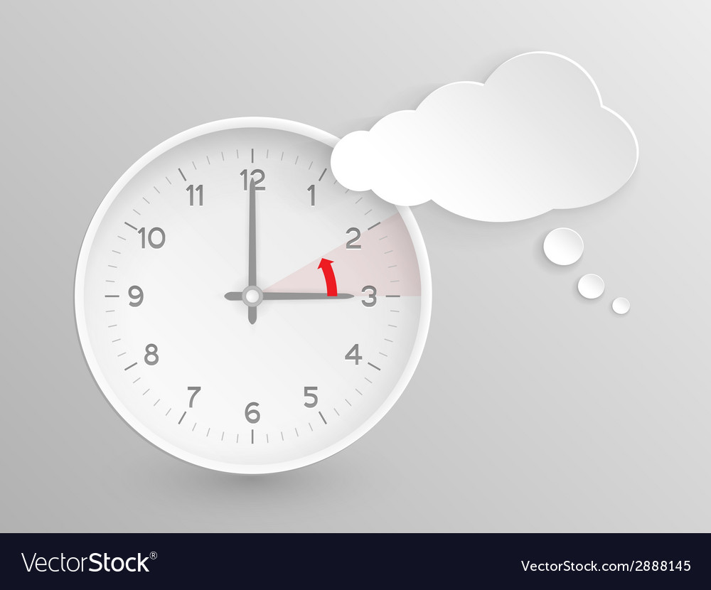 European summer time ends clock with cloud vector | Price: 1 Credit (USD $1)