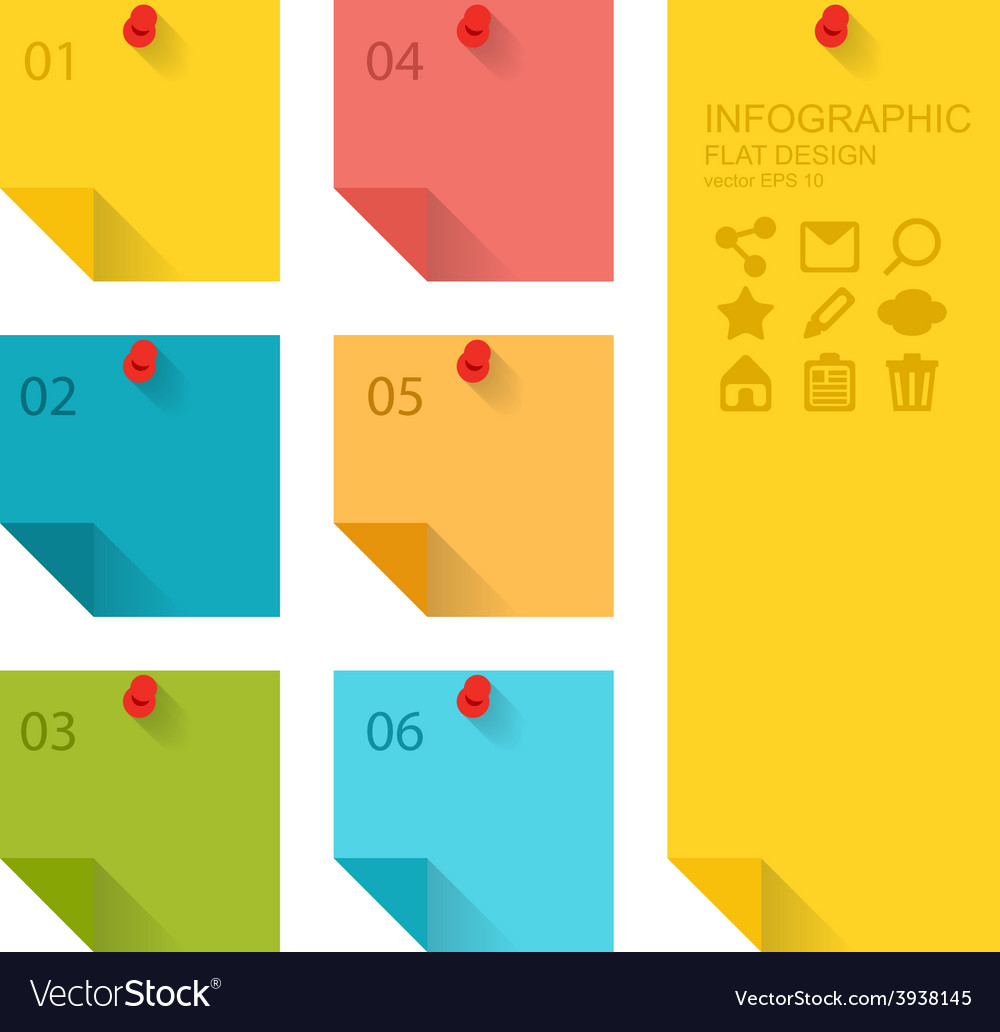 Flat design of infographics elements colorful vector | Price: 1 Credit (USD $1)