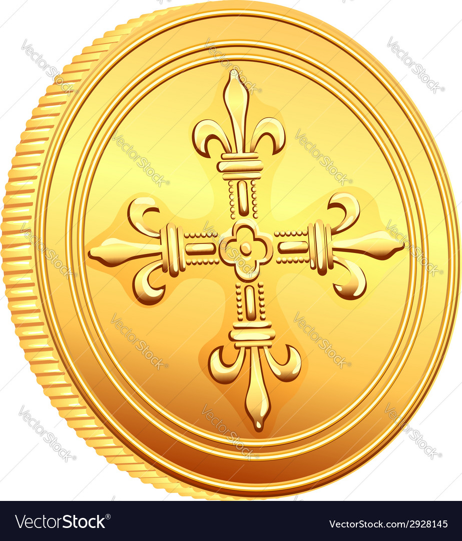French gold coin ecu vector | Price: 1 Credit (USD $1)