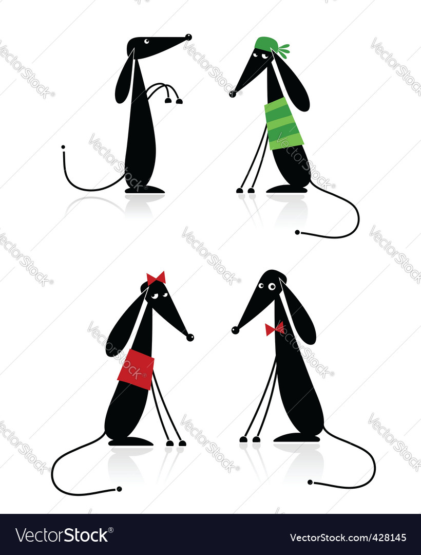 Funny black dogs silhouette collection vector | Price: 1 Credit (USD $1)