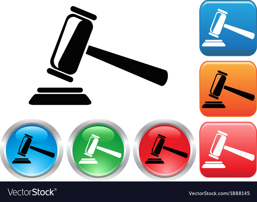 Gavel button icons set vector | Price: 1 Credit (USD $1)