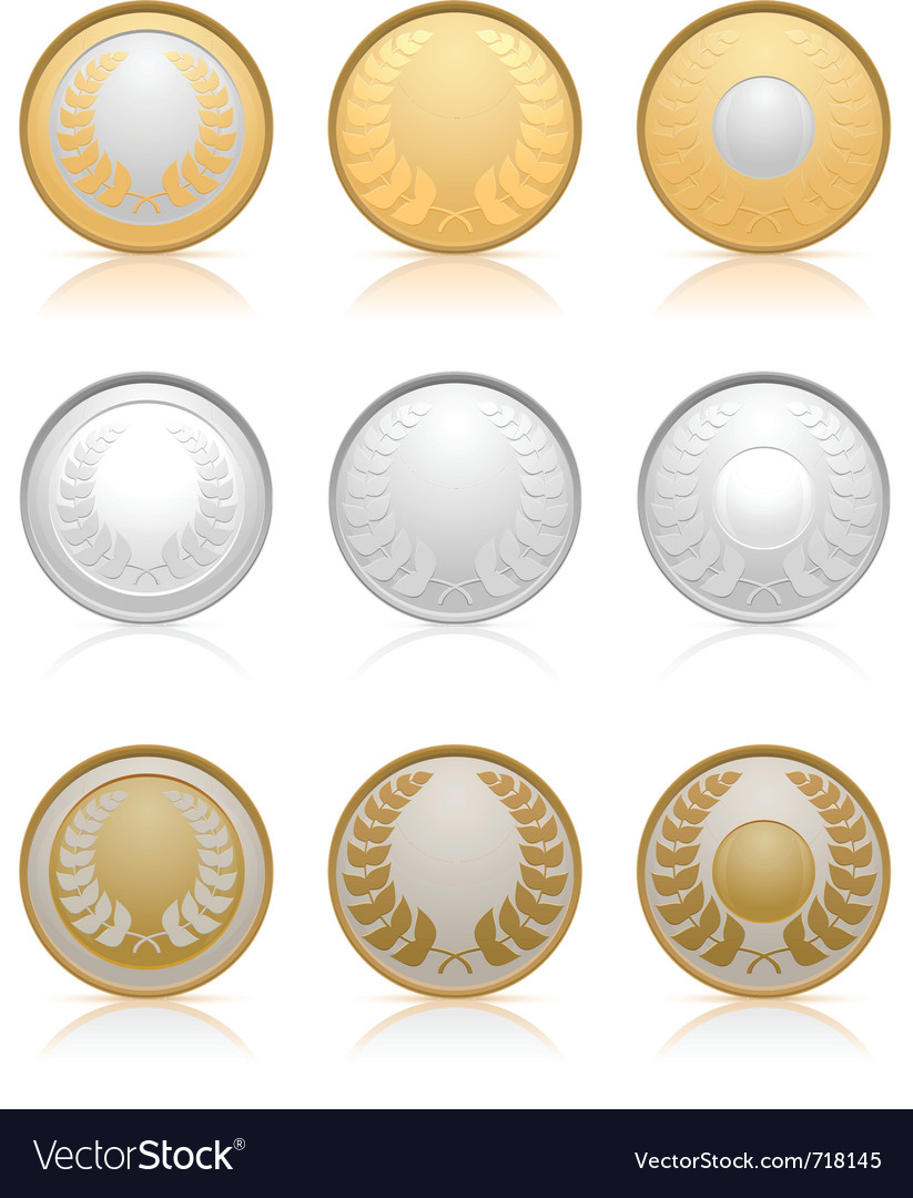 Gold silver and bronze medals vector