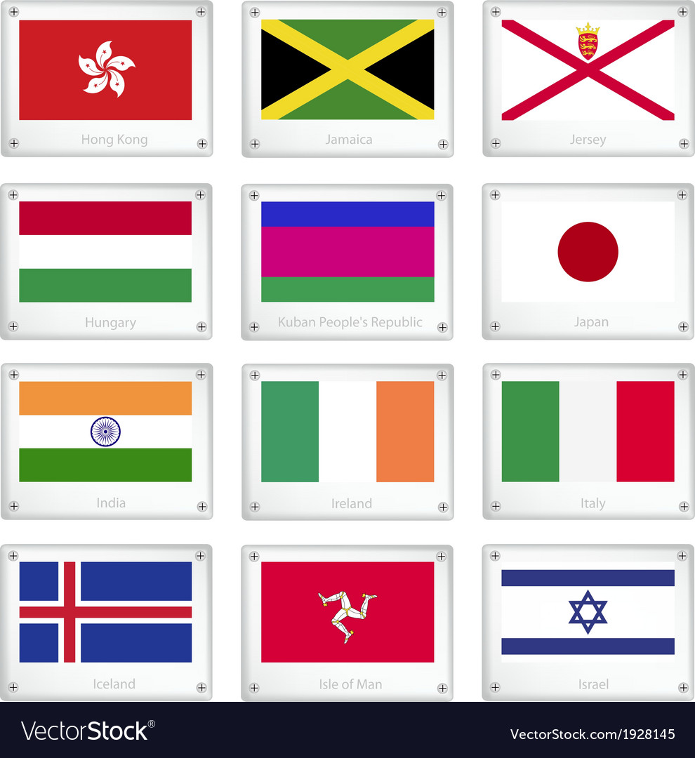 Group of national flags on metal texture plates vector | Price: 1 Credit (USD $1)