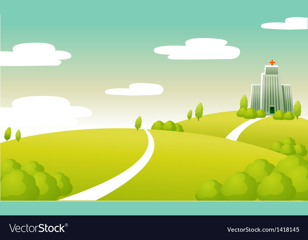Hospital building green landscape vector | Price: 1 Credit (USD $1)
