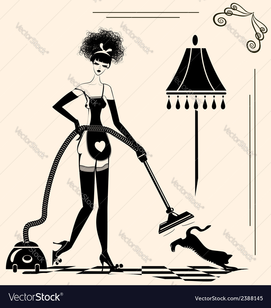Housewife and a cleaner vector | Price: 1 Credit (USD $1)