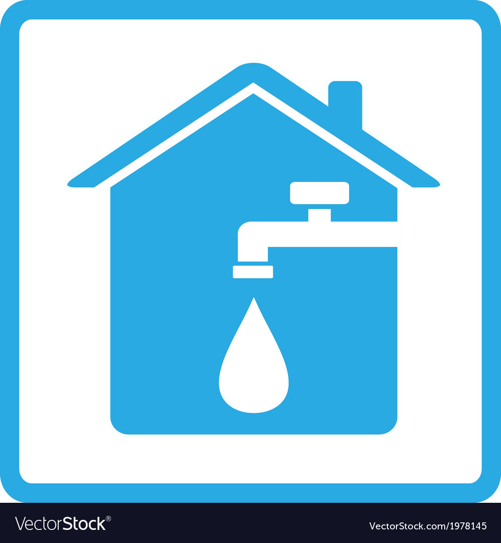 Icon with home spigot and drop of water vector | Price: 1 Credit (USD $1)