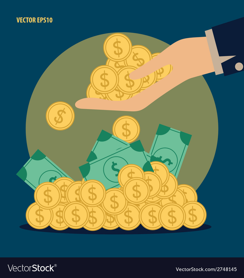 Money on hand modern flat design concept vector | Price: 1 Credit (USD $1)